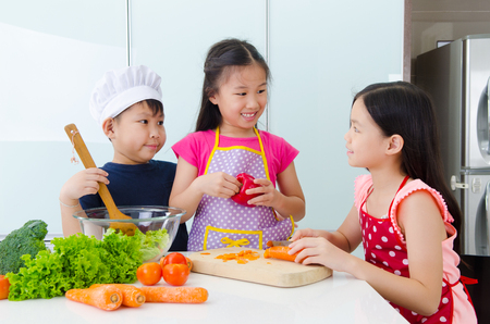 asian boy: young chef Stock Photo