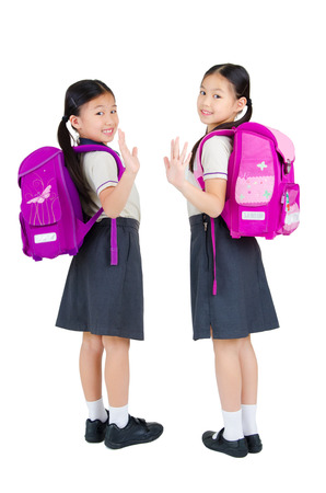 waive: Portrait of asian primary students waive their hands Stock Photo