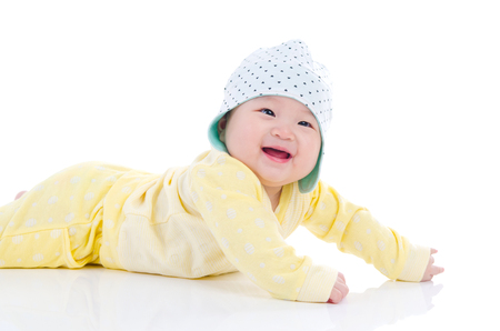 crawl: Smiling baby crawl on the floor