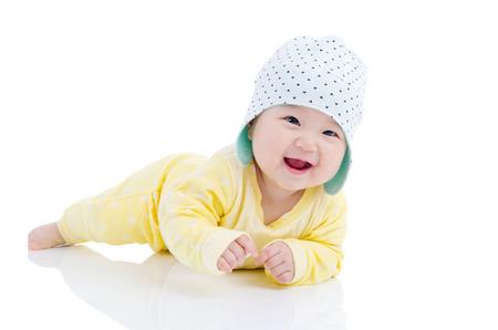 아름다운 아시아 아기의 실내 초상화