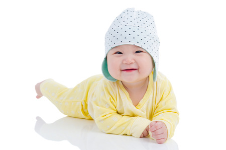 Indoor portrait of a beautiful asian baby girl Stock Photo