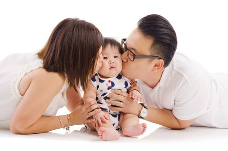 chinese lady: Asian parent kiss their baby girl