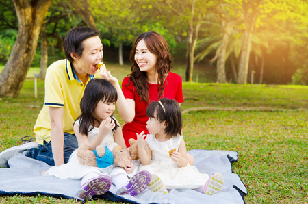 公園でアジアの家族ピクニック