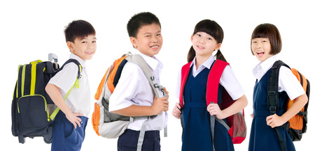 Asian primary student carried school bag isolated on white background