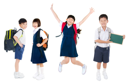 Group of asian primary students