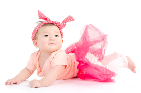 Indoor potrait of a beautiful asian baby girl Stock Photo