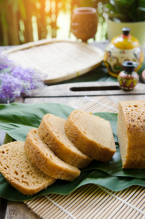 spongy: traditional asian dessert made from coconut sugar Stock Photo