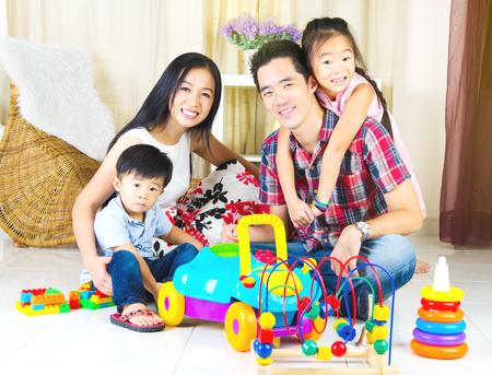 singaporean: Asian family enjoyed family time at home
