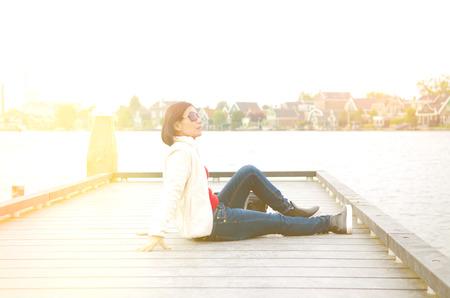zaandam: Asian woman enjoyed her holiday in Zaanse Schans, Netherlands
