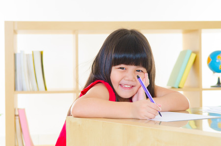 Lovely asian girl coloring