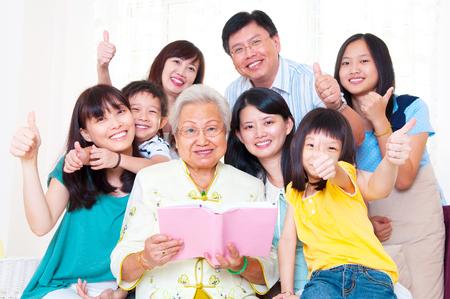 Asian three generations family enjoyed family time