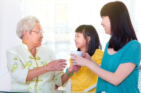 Asian senior woman and grandchildren
