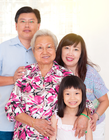 Portrait of asian three generations family Фото со стока