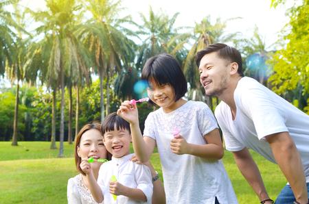 Lovely asian family enjoyed bonding time together