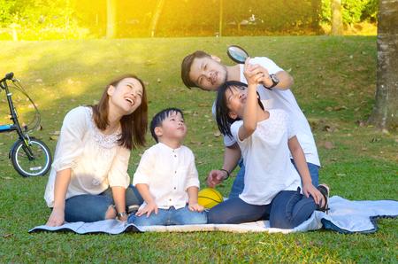 Asian family enjoyed outdoor nature
