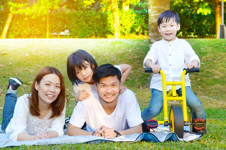Asian family enjoyed outdoor nature at the park