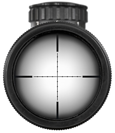 reticle: Riflescope with two clipping paths, so you can place any object in the scope as a target  Stock Photo