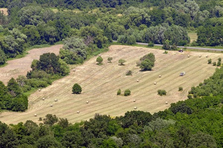 agricultural area: Landscape from above with straw bales and agricultural area