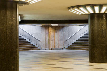 underpass: Empty underpass with columns and steps