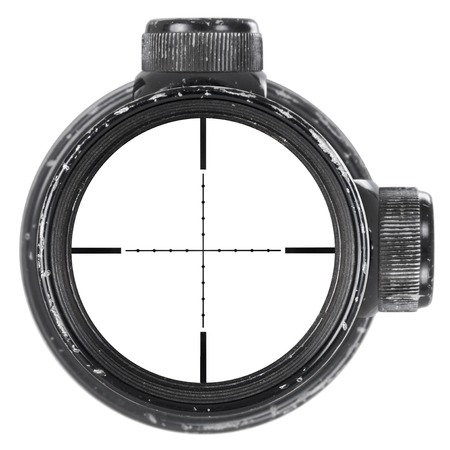 used: Looking through used rifle scope with Mil-Dot reticle, three clipping paths for creative work Stock Photo