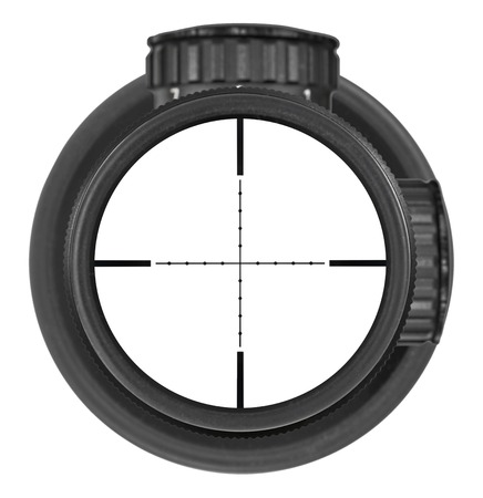 Looking through new rifle scope with Mil-Dot reticle, three clipping paths for creative work
