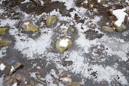frozen creek: Ice and small rocks in a frozen creek