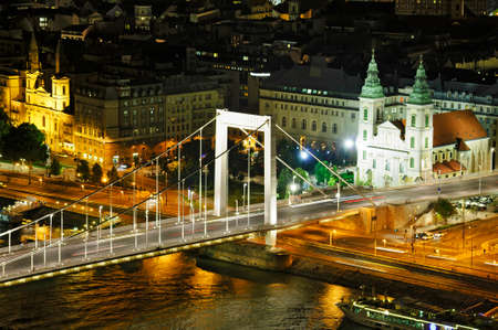 Budapest by night with part of Elisabeth bridge from above photo