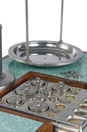 balances: Traditional old style pharmacy scale close-up with small weights