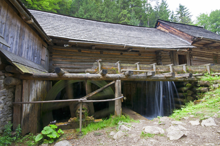 water mill: In the mountain valley an old water mill detail with wooden roof and pine trees around