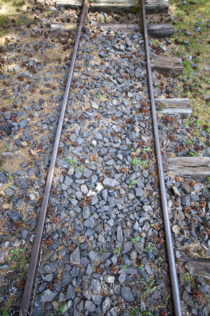 narrowgauge: Old narrow-gauge railways detail from above Stock Photo