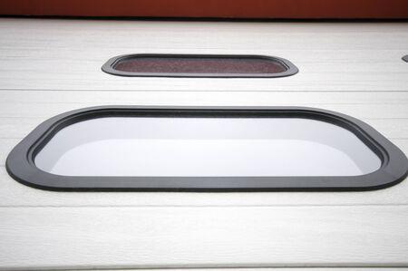 Small built-in garage door windows from below