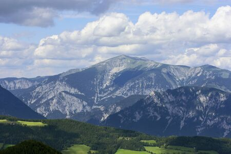 Alpen mountains at sunny day view from Semmering Hirschenkogel to Schneeberg Austria Stock Photo