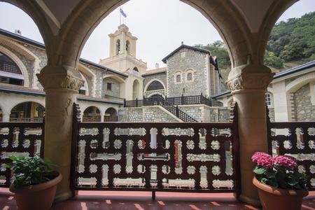 Arched corridor of Kykkos Monastery in Cyprus