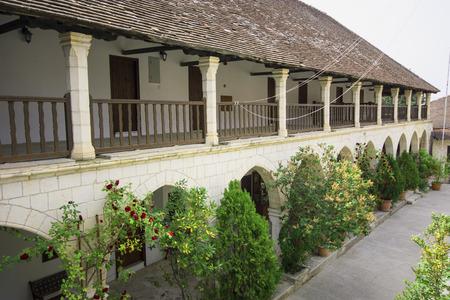 Courtyard Details of Chrysoroyiatissa Monastery in Cyprus Stock fotó