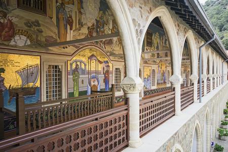 Arched corridor of Kykkos Monastery in Cyprus Archivio Fotografico