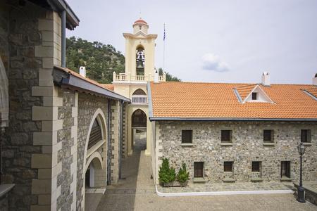 Courtyard and bell tower of Kykkos Monastery in Cyprus Stock fotó