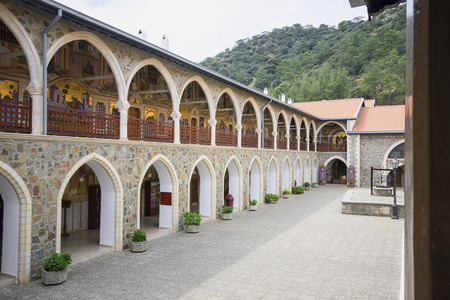 Courtyard and arched corridor of Kykkos Monastery in Cyprus