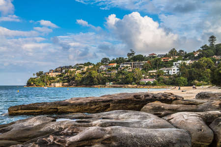 sheltered: Chinamans Beach - overlooking a calm and sheltered beach strip in north Sydney. Editorial