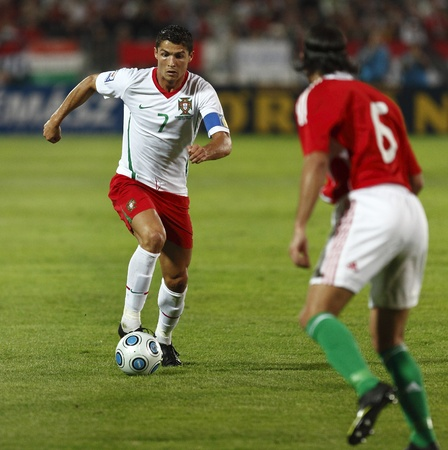 Budapest, Hungary - September 9, 2009 - Portuguese Cristiano Ronaldo (7) during Hungary vs. Portugal FIFA World Cup 2010 group stage soccer match at Puskas Ferenc Stadium Editöryel