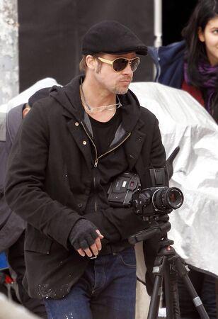 brad pitt: Brad Pitt during Angelina Jolies movie shooting in 9th District, on 9th November, 2010, in  Budapest, Hungary.Brad Pitt Angelina Jolie filmjének forgatásán a IX. kerületben, 2010. november 9-én, Budapesten.  Editorial