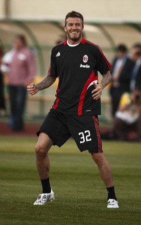 puskas: Beckham of Milan during Hungarian League Team vs. AC Milan friendly football match at Puskas Ferenc Stadium on 22th April 2009, in Budapest, Hungary