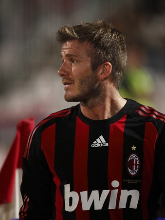 Beckham of Milan during Hungarian League Team vs. AC Milan friendly football match at Puskas Ferenc Stadium on 22th April 2009, in Budapest, Hungary