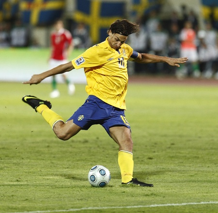 Swedish Ibrahimovic during Hungary vs. Sweden FIFA World Cup 2010 group stage match at Puskas Ferenc Stadium on 5th September 2009, in Budapest, Hungary  報道画像