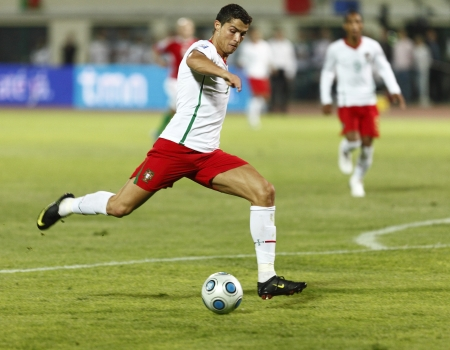 Portuguese Cristiano Ronaldo is shooting during Hungary vs. Portugal FIFA World Cup 2010 group stage match at Puskas Ferenc Stadium on 9th September 2009, in Budapest, Hungary