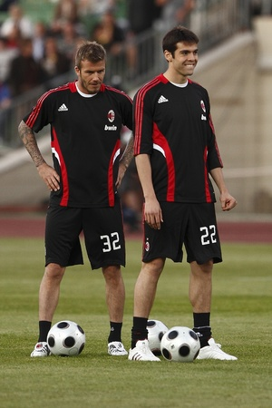 Beckham (L) and Kaka (R) of Milan before Hungarian League Team vs. AC Milan friendly football match at Puskas Ferenc Stadium on 22th April 2009, in Budapest, Hungary