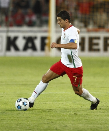 Portuguese Cristiano Ronaldo with the ball during Hungary vs. Portugal FIFA World Cup 2010 group stage match at Puskas Ferenc Stadium on 9th September 2009, in Budapest, Hungary