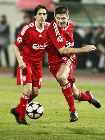 liverpool: Benayoun and Gerrard of Liverpool during Debrecen vs. Liverpool UEFA Champions League group stage match at Puskas Ferenc Stadium on 24th November 2009, in Budapest, Hungary Editorial