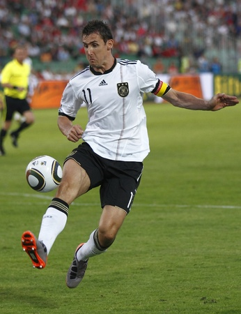 German Klose in action during Germany vs Hungary friendly game at Puskas Ferenc Stadium on May 29, 2010 in Budapest, Hungary. 報道画像
