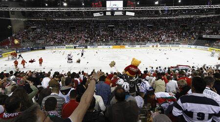 BUDAPEST - APRIL 22: Teddy Bear Toss after Hungarys first goal during Hungary vs. Spain (13:1) IIHF Division IA World Championship at Budapest Sport Arena on April 22, 2011 in Budapest, Hungary.