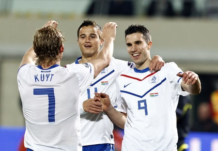 BUDAPEST - MARCH 25: Dutch Dirk Kuyt, Ibrahim Afellay (11) and Robin van Persie (9) during Hungary vs. Netherlands (0:4) UEFA Euro 2012 qualifying game at Puskas Ferenc Stadium on March 25, 2011 in Budapest, Hungary.